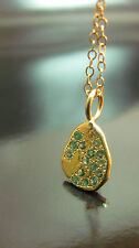 14k yellow gold necklace with Green Emerald. Very unique handmade Design