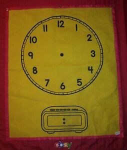 HUGE VINTAGE CARSON DELLOSA YELLOW HANGING Clock BANNER learn tell time 35.5X29