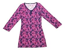 BH PJ'S by Bedhead Size Small Pink Purple Floral Print Henley Night Shirt Gown