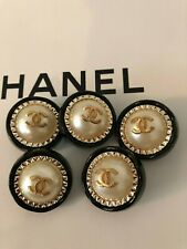 Chanel pearl ivory black CC logo large buttons set of 5.30 mm
