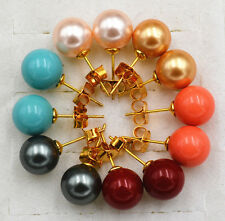 Sea shell pearl earrings Bright Wholesale 6pc 10mm South