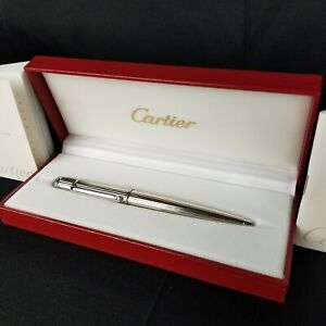 Cartier Diabolo Platinum Plated Pinstripe Ballpoint Pen With Box & Papers