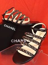 16C NIB CHANEL BLACK LEATHER GOLD CHAINS CC LOGO FLATS SANDALS 37 $975