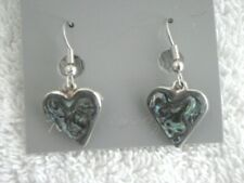 "Earrings Heart small Abalone Shell Alpaca new 5/8"""