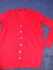 Ralph Lauren Sport (L) abotonada a través de longitud larga chaqueta de punto rojo (ver Desc)