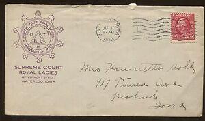 1912 Waterloo Iowa Supreme Court Royal Ladies Advertising Cover