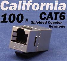 100 X pcs Lot CAT6 Shielded Inline RJ45 Keystone Wall Coupler Jack Adapter 8P8C