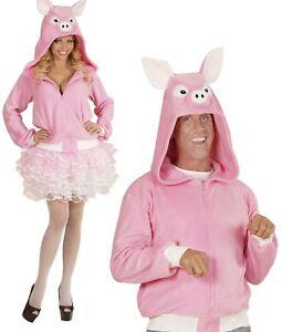 ANT 07010 Schwein Kostüm Schweinchen Jacke Porky Fleece Damen Herren Karneval