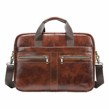 ​Mens Genuine Leather Briefcase Laptop Bag Messenger Shoulder Bag Business Case
