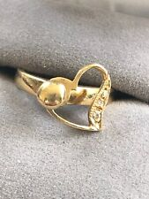 Unique Beautiful Vintage 14K Yellow Gold Spinner Heart Ring w Diamonds size 5