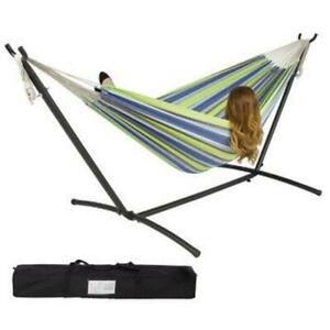 Double Hammock With Space Saving Steel Stand Includes Portable Carrying Case 03#