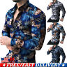 Men's Floral Slim Fit Long Sleeve Muscle Tees T-shirt Casual Shirts Tops Blouse