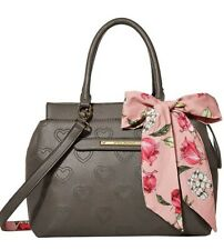 NEW Betsey Johnson Shoulder crossbody Taupe Tote Handbag PURSE  with Scarf