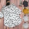 Women Lady Cotton Linen Loose O-Neck Short Sleeve Polka Dot T-Shirt Blouse Tops