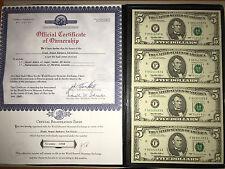 RARE SET 1995 UNCUT4 NOTES SHEET Of USA$5 x 4 Legal Real Bill
