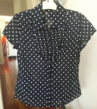 Aero Size 12 Cotton Button Front Shirt Pleating Navy White Spots