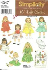 """4347 18"""" Doll Clothes Pattern, New Uncut Simplicity 4347 Out Of Print"""