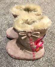 Girls slippers 9-18 Months Monsoon Tan Suedette Faux Fur Lined Embroidered Boots