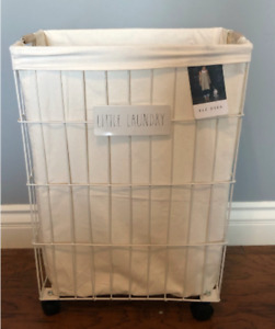 Rae Dunn Rolling LITTLE LAUNDRY BASKET METAL w/washable Liner - Baby's Clothes