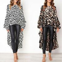 Sexy Womens Casual Leopard Print Shirt Ladies Autumn Asymmetric Blouse Tops