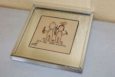 Old Framed Mirror BRUSHING KIDS 70s MCM Wall ART US Made Picture Home Decor