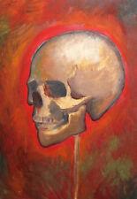 Human skull oil painting