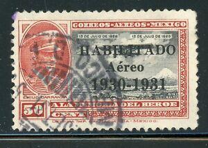 MEXICO Used Air Post Selections: Scott #C35 50c HABILITADO Aereo 1930-1931 CV$10