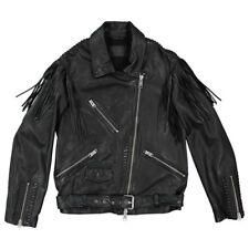 All saints Leather Black fringes zipped jacket Mens size large