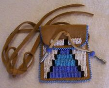 HAND MADE SMALL BEADED NECK POUCH RENDEZVOUS BLACK POWDER MOUNTAIN MAN 13