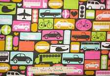 Timeless Treasures Travel Plane Bus Car Bicycle Luggage Cotton Fabric YARD