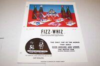 Vintage 1976 FIZZ-WHIZ soda cap seals - ad sheet #0193