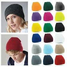 Beechfield Beanie Hat Pull On Soft Touch Knitted Retro Ski Winter Warm Acrylic