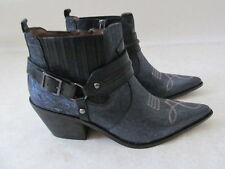 $299 DONALD J PLINER METALLIC BLUE LEATHER ANKLE WESTERN BOOTS SIZE 9 M - NEW