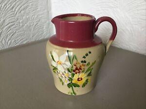 Vintage Stoneware Milk/Cream Jug-Hand Painted Floral Design