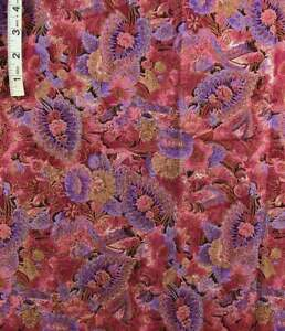 Deep Mauve,Lav,Red Floral,Gold Foil Print Cotton Quilt Fabric,Robert Kaufman