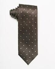 "Tom Ford NWT Brown Silver Geometric Pattern Gold Polka Dot Silk Tie 3.2"""