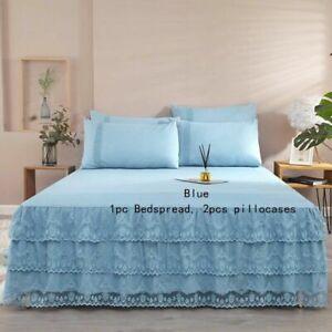 1PC Bed Skirt 2PCS Pillowcases Set Ruffle Bedspread Home Bedding Decor Princess