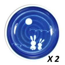 "2 Pcs. Japanese 3.75""D Sushi Soy Sauce Dipping Dishes Rabbit & Moon/ Make Japan"