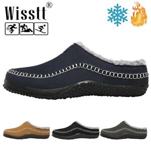 Mens Fur Lined Winter Indoor Outdoor Slippers Warm Slip On Mule House Shoes Size