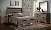 NEW Rustic Grey Brown Queen or King 4PC Bedroom Set Modern Furniture Bed/D/M/N