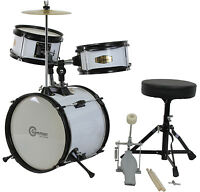 New White Drum Set Junior Children's Complete Child Kids Kit with Stool & Sticks