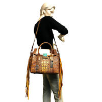 Raviani Fringe Satchel Brown Croco & Hair on Leather W/ Turquoise Stone Concho