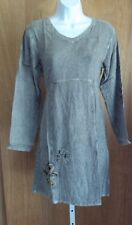 #113 SACRED THREADS Acid Wash Rayon Gray Florals Applique Dress S/M