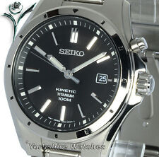 NEW SEIKO KINETIC FULL TITANIUM SATIN BLACK DIAL SKA493P1