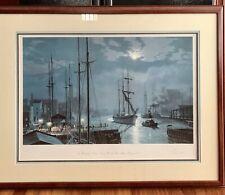 Signed John Stobart Print - Chicago Towing in Past the Rush Street Bridge 1872