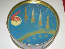 1960s Tin Can Spaceship Vostok Rocket Kremlin Santa Russian Soviet Box Space