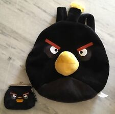 Angry Birds Black Plush Backpack and Coin Purse