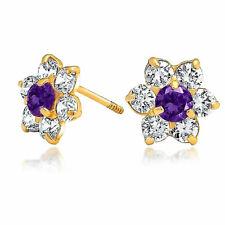 Purple CZ Flower Stud Earrings Simulated Amethyst 14K Real Gold Screwback