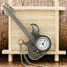 Pocket Watch Necklace Pendant Chain Gift Bronze Modern Rock Guitar Shaped Quartz