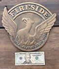 Antique Vintage Fireside Bronze Phoenix Rising Eagle Bird Plaque Sign